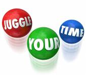 Juggle Your Time Words 3d Balls Manage Many Jobs Tasks — Stock Photo