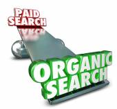 Organic Vs Paid Search Internet Marketing Advertising SEO Result — Stock Photo