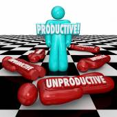 Productive Vs Unproductive Workers One Person Standing Most Effi — Stock Photo