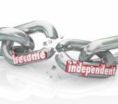 Become Independent Break Chains Gain Freedom Self Reliance — Stock Photo