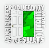 Productivity Efficiency 3d Word Door Improve Results Output — Stock Photo