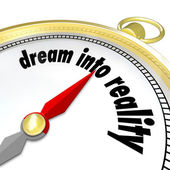 Dream Into Reality Words Gold Compass Direction Achieve Goal — Stock Photo