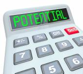 Potential Word on Calculator Reach Full Ability Opportunity Earn — Stock Photo