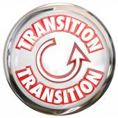 Transition Word White Button Icon Change Process Cycle — Photo