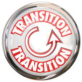 Transition Word White Button Icon Change Process Cycle — Stockfoto