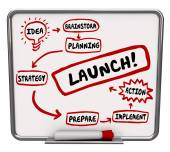 Launch New Business Dry Erase Board Plan Strategy Success Start — Foto de Stock