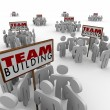 Team Building People Gathered Around Signs Meeting Teamwork Lear — Stock Photo #55031457