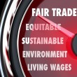 Fair Trade Speedometer Measuring Import Export Equity Products — Stock Photo #55033079