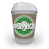 Overpriced Coffee Cup Expensive Costly Drink Too High Cost — Stock Photo