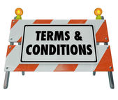 Terms and Conditions Rules Compliance Barricade Warning Sign — Stock Photo