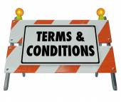 Terms and Conditions Rules Compliance Barricade Warning Sign — Stockfoto