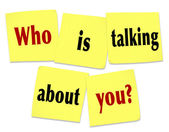 Who Is Talking About You Sticky Notes Question Buzz Social Media — Stock Photo