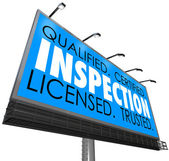 Inspection Qualified Certified Licensed Trusted Billboard Advert — Stock Photo