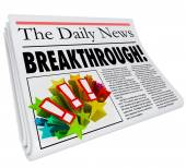 Breakthrough Newspaper Headline Big Announcement Discovery — Stock Photo