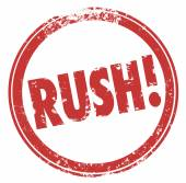 Rush Word Red Round Stamp Hurry Expedite Emergency Need — Stock Photo