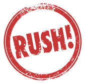 Rush Word Red Round Stamp Hurry Expedite Emergency Need — Foto Stock