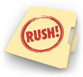 Rush Word Stamped Manila Time Sensitive Folder — Stock Photo