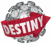 Destiny Word Arrow Around Clocks Future Fate Fortune Telling — Stock Photo