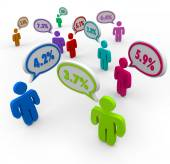 Percent Numbers Interest Rates People Talking Comparing Best Off — Stock Photo