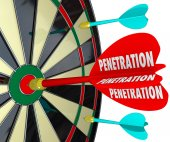 Penetration Word on 3d Red Dart Board Infiltrate Espionage — Stockfoto