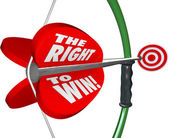 The Right to Win Words Bow Arrow Success Competitive Advantage — Stock Photo