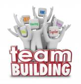 Team Building People Employees Behind 3d Words in Training Exerc — Stock Photo