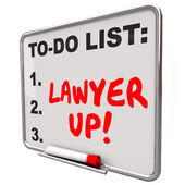 Lawyer Up To Do List Hire Attorney Legal Problem Lawsuit — Stock Photo