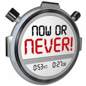 Now or Never Stopwatch Timer Opportunity Deadline Procrastinatio — Stock fotografie