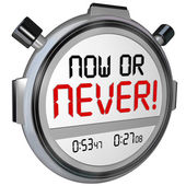 Now or Never Stopwatch Timer Opportunity Deadline Procrastinatio — Stock Photo