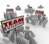 Team Building People Gathered Around Signs Meeting Teamwork Lear — Stock Photo