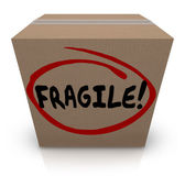 Fragile Word Written on Cardboard Box Packing Move Delicate Item — Foto Stock