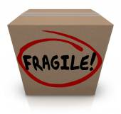 Fragile Word Written on Cardboard Box Packing Move Delicate Item — ストック写真
