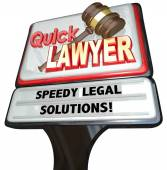 Quick Lawyer Attorney Speedy Legal Solutions Sign Advertising — Stock Photo