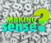 Making Sense 3d Words Letters Understanding Knowledge Grasping I — Foto de Stock