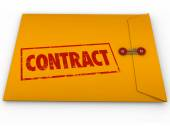 Contract Stamped Word Yellow Envelope Official Papers Deal Docum — Stock Photo