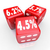 Interest Rate Percent Numbers Three Red Dice Refinance Debt Cred — Stock Photo