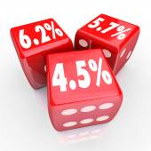 Interest Rate Percent Numbers Three Red Dice Refinance Debt Cred — Stockfoto