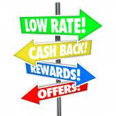 Low Rate Cash Back Rewards Offer Arrow Signs Best Credit Card De — Stock Photo