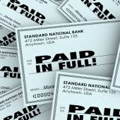 Paid in Full Words Check Money Bills Pile Paying Owed Obligation — Stock Photo