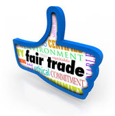 Fair Trade Blue Thumbs Up Words Responsible Business Approval Li — Stock Photo