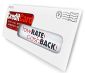 Credit Card Offer Letter Envelope Solicitation Low Rate Cash Bac — Foto de Stock