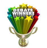 Debate Winner Gold Trophy Prize Best Argument Skill — Stock Photo