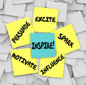 Inspire Motivate Influence Persuade Spark Excite Sticky Notes — Foto de Stock