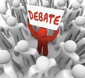 Debate Word Man Person Holding Sign Argument Dispute — Stock Photo