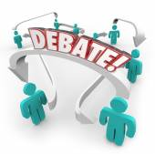 Debate Word People Connected Arrows Arguing Disagreement — Stock Photo