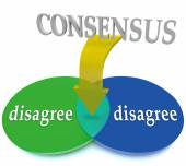 Consensus Venn Diagram Two Opposing Views Disagree Agreement — Stock Photo