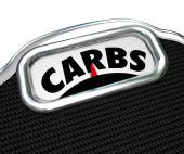 Carbs Word Scale Diet Losing Weight Eating Less Carbohydrates — Foto de Stock