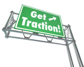Get Traction Green Freeway Road Sign Make Progress Gain Ground M — Stok fotoğraf