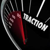 Traction Gaining Ground Momentum Speedometer Measure Progress — Stock Photo