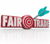 Fair Trade Words 3d Letters Arrow Target Bulls Eye — Stock Photo